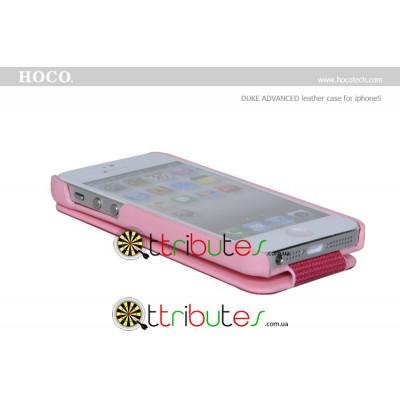 Чехол iPhone 5 & iPhone 5 s Hoco Leather Case Duke Flip Top pink