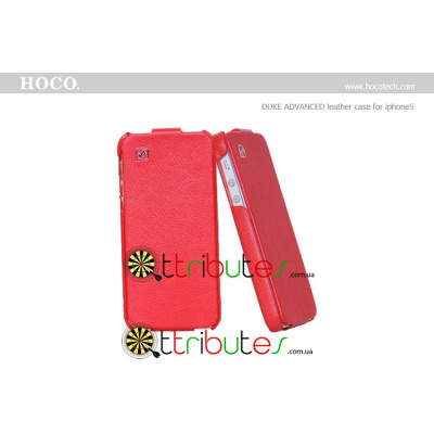 Чехол iPhone 5 & iPhone 5 s Hoco Leather Case Duke Flip Top Red