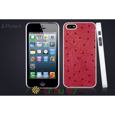 Чехол iPhone 5 GGMM Genuine leather Glamour Dot Red