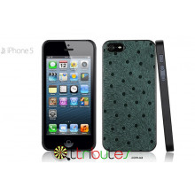 Чехол iPhone 5G GMM Genuine leather Glamour Dot Green